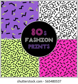 Cute set of four 80's style trendy seamless patterns for your decoration