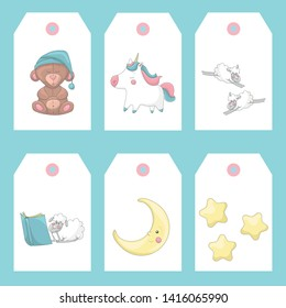 Cute set of gift tags or labels templates with sheep, unicorn, stars, moon and bear. White background. Cartoon style illustration. Vector.