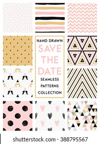 Cute set with gold, pink, black and white colored seamless patterns soft collection. Perfect for valentines day, birthday, save the date, wedding invitation.