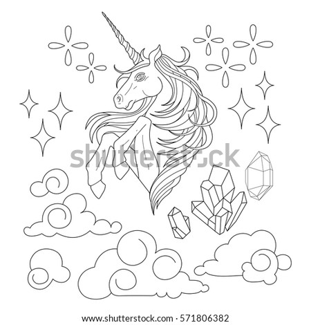Cute Set Of Graphic Unicorn Fantasy Clouds And Crystals Coloring Book Page Design For