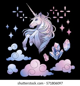 Cute set of graphic unicorn in pastel colors, fantasy clouds and crystals. Vector design elements isolated on the dark background