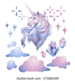 Cute set of graphic unicorn in pastel colors, fantasy clouds and crystals. Vector design elements isolated on white background