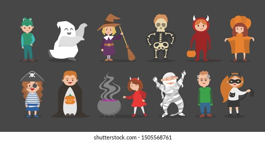 Cute set of halloween costumes for children. Cat and witch, vampire and pirate characters. Funny clothing for party. Isolated flat illustration