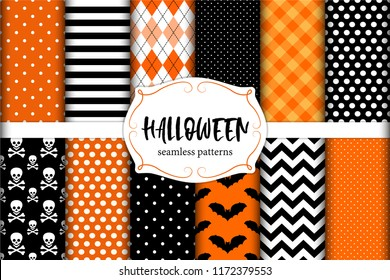 Cute set of Halloween seamless geometric patterns in traditional colors