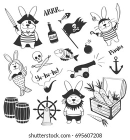 Cute set of hares of pirates on a white background. Original graphics for a child's birthday, pirate party