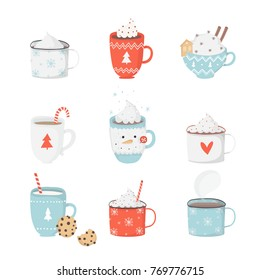 Cute set with illustrations of mugs with hot cocoa, coffee, milk, cream, ginger cookies on white background. Perfect for greeting cards, party invitations, posters, stickers, pin, scrapbooking, icons