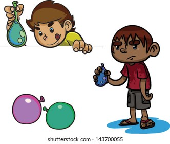 A cute set of kids with water balloons - Vector clip art illustration on white
