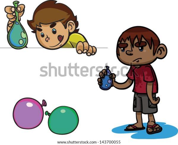 Cute Set Kids Water Balloons Vector Stock Vector Royalty Free 143700055