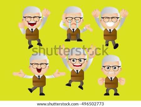 Calm Cute Set Set Of Old People Shutterstock Cute Set Set Old People Stock Vector royalty Free 496502773