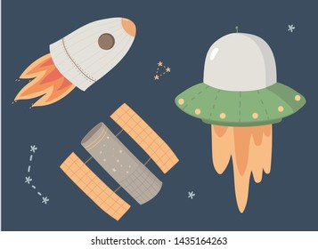 Cute set on the theme of space: Rocket, Ufo, Hubble. Illustration