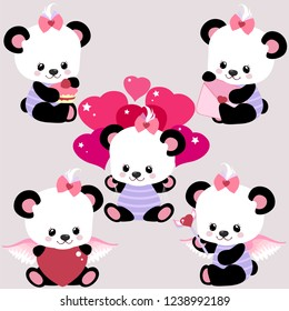 Cute set with pandas with balloons, sweets and hearts for Valentine's Day or birthday. Sweet congratulations for your loved one.