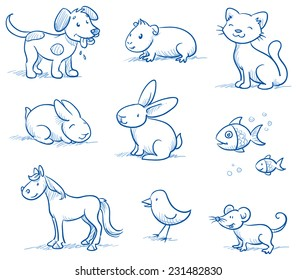 Cute set of pets, dog, cat, horse, bunny, guinea pig,fish, bird mouse, hand drawn doodle sketch