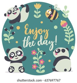Cute set postcard with Panda and bee, plants, jungle, berry, flowers, enjoy the day