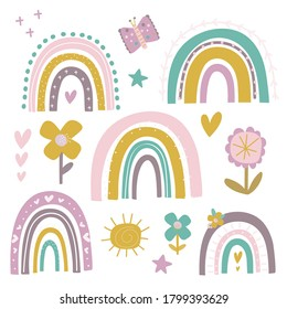 A cute set of Rainbows and flower illustrations, created in a sweet pastel colour palette. 15 vector images.