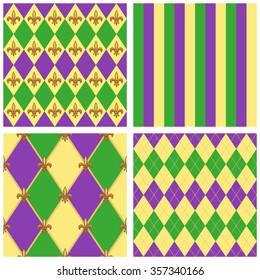 Cute set of seamless Mardi Gras patterns with fleur de lis
