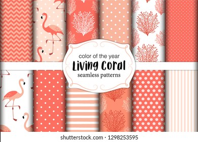 Cute set of seamless patterns in color of 2019 year Living Coral. Vector illustration.