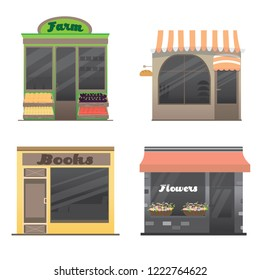 Cute set of the shops facade. Bookstore, farm, bakery, flower shop. Collection of stories with storefronts and different interior design elements. isolated objects. Vector illustration in flat design.