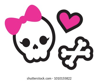 Cute set of a skull with bow, bones, and pink heart vector illustration.