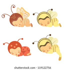 A cute set of sleeping babies in various costumes