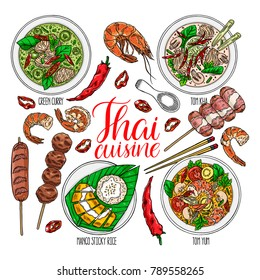 cute set of thai cuisine. Tom Yum kung, Green curry, Tom Kha, Mango sticky rice, shrimps and chili. hand drawn illustration