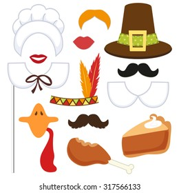 Cute set of Thanksgiving photo booth props! Grab a prop and strike a pose!