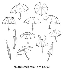 Cute set with various umbrellas. Line art.