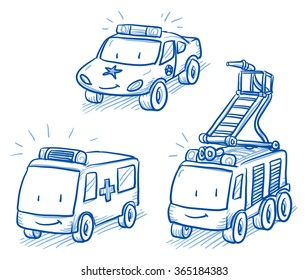 Cute set of vehicles, ambulance, police car and fire truck. Hand drawn vector cartoon doodle illustration