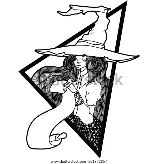 cute, sexy, girl witch hat with a scroll in the triangle
