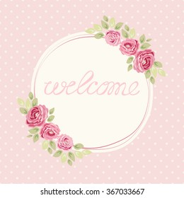 Cute shabby chic frame with roses on seamless polka dots background for your decoration