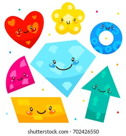 Cute shapes: arrow, diamond, flower, heart, parallelogram, quadrant, ring, cartoon characters, isolated objects on white background, set, collection, children's illustration.