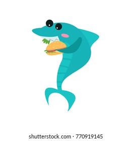 Cute shark cartoon character eating burger, funny blue fish vector Illustration