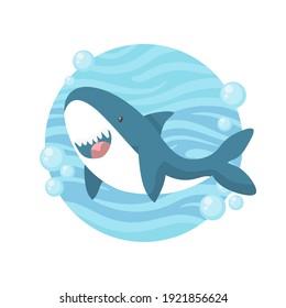 Cute shark cartoon. Vector clipart