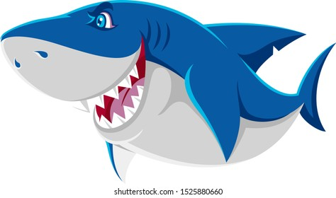 Cute Shark Character Shows His Jaw with Dangerous Smile