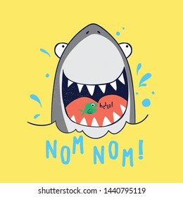 cute shark drawn as vector for tee print