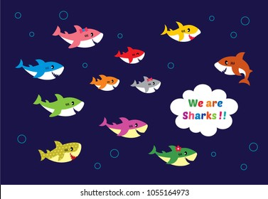 cute sharks family vector. cute shark cartoon vector.