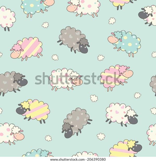 Cute Sheep Background Seamless Pattern Seamless Stock Image