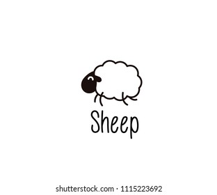 Cute Sheep doodle. Vector illustration of a happy jumping lamb for night sleep or farm subjects