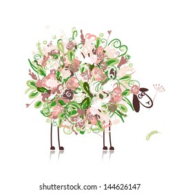 Cute sheep, floral style for your design