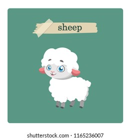 Cute sheep illustration on green background