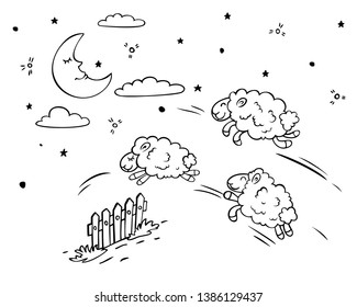 Cute sheep jump over the fence. The moon and the stars are sleeping.