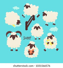 Cute sheep jumping over the fence, vector design