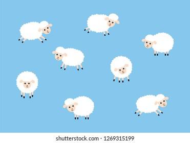 cute sheep lamb wallpaper vector. cute sheep pattern graphic.