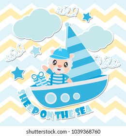 Cute sheep on the sea vector cartoon illustration for Kid t-shirt background design, postcard, and wallpaper