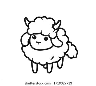 Cute sheep on white background, illustration and coloring book