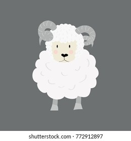 Cute sheep ram. Funny cartoon character for children design or easter cards. Eid-Ul-Adha