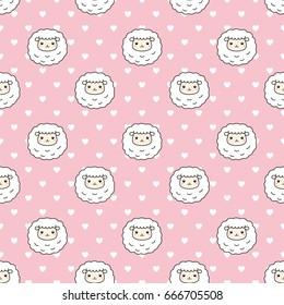 Cute Sheep Seamless Pattern Vector