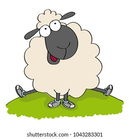 Cute sheep in shoes, sitting on the hill and looking happy - original hand drawn funny cartoon illustration