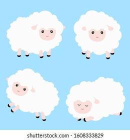 Cute Sheep Vector Illustration Set on Blue