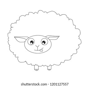 The cute sheep vector in white background.