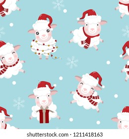 Cute sheep wear Christmas hat seamless pattern. Animal wildlife cartoon character in winter.